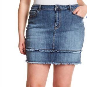Melrose and Market | Frayed Denim Jean Skirt